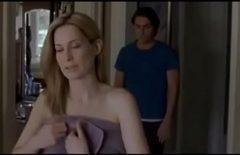 Бритая киска приводит домой своего молодого любовника и застает мужа, когда тот занимается с ним сексом